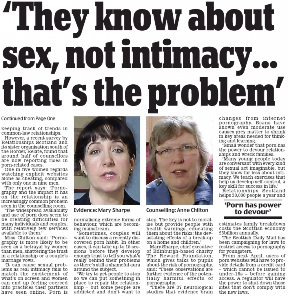 Schottesch Daily Mail Page 2 Text Sie wëssen iwwer Sex, net intimitéit ... Dat ass de Problem