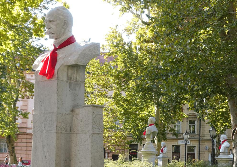 Statues in a park in Zagreb wearing ties
